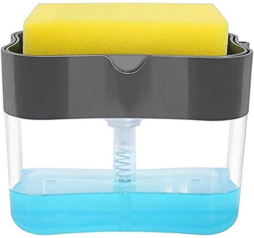 Soap Dispenser, Dish Washing Soap Dispenser for Kitchen, Countertop soap Dispenser, Multifunction Soap Pump with Sponges Caddy Set (13 Ounces)
