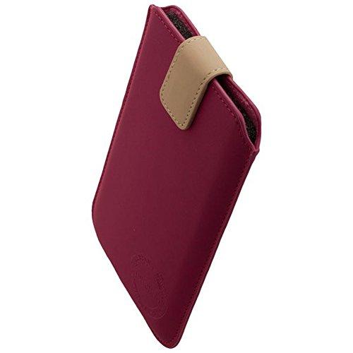 IPHORIA FUN Trendige Tasche Magenta Größe XXL5.7 mit Easy Pull-Out-Funktion und Magnetverschluss + Reinigungstuch iMoBi