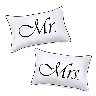 DasyFly 2PCS Mr and Mrs Pillow Cases,His and Hers Couples Pillowcases, Romantic Anniversary V-Day Christmas Wedding Gifts for The Couple,His and Hers Gifts for Him for Her