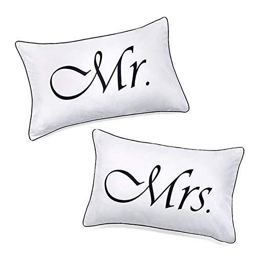 """Kopfkissenbezüge """"Mr. & Mrs."""", Geschenk zu Hochzeit, Jahrestag, Weihnachten, romantische..."""