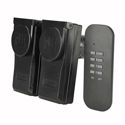 UNITEC Funkfernschalterset mit Selbstlernfunktion, Funksteckdosen Set, 2 Steckdosen + 1 Fernbedienung, schwarz