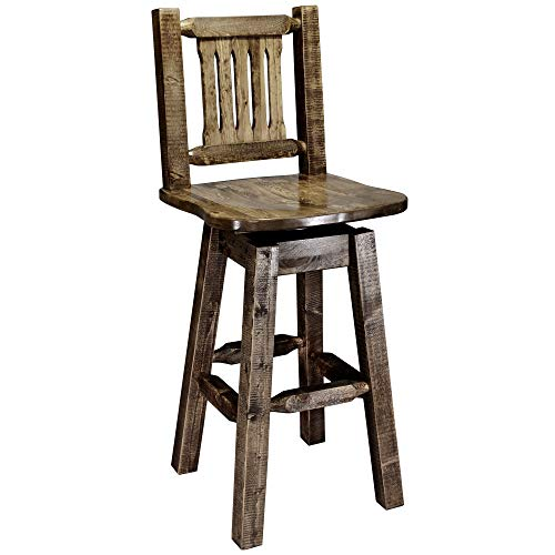 Montana Woodworks Homestead Collection Barstool with Back and Swivel, Ergonomic Wooden Seat, Stain and Lacquer Finish