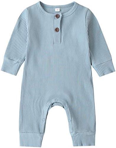 Kuriozud Newborn Infant Unisex Baby Boy Girl Button Solid Romper Bodysuit One Piece Jumpsuit product image
