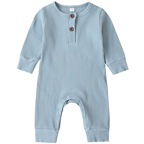 Kuriozud Newborn Infant Unisex Baby Boy Girl Button Solid Romper Bodysuit One Piece Jumpsuit Outfits Clothes (Long Sleeve One Piece Blue, 0-3 Months)