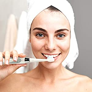 Sonic-FX Duo Dual Handle Whitening Electric Sonic Toothbrush - 3 Modes, Smart Auto-Timer - with Charging Dock and 12 Brush Heads - Black and White