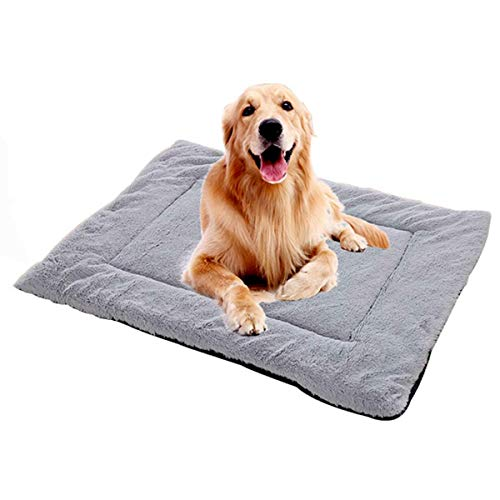 Camas para Perros Suave Y Cómoda Alfombra para Perros Alfombrillas Corto De Felpa De Doble Uso para Perros para Dormir Descansar Animales (Gris,58×38cm)