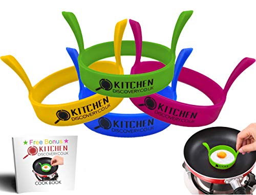 Non Stick Silicone Egg Rings for Frying Perfect Fried Eggs, Pancake Ring, Mcmuffin, Omelettes, Crumpets (4 Pack) by KITCHEN DISCOVERY - LFGB Grade Premium Silicone Round Egg Ring Mold, Multi Coloured