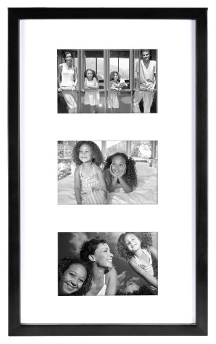 MCS 10x17 Inch East Village Collage Frame with 3-4x6 Inch Mat Openings, Black (29019)
