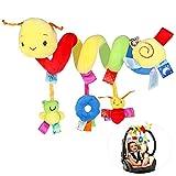 Synchain Babyschale Spielzeug, Activity Spirale Kinderwagen Spielzeug, 0-12 Monaten Babys Junge Mädchen Activity Spirale Spielzeug mit Klingelglocke, Pädagogische Plüschtier für Kinderbett, Babyschale