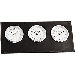 Bey-Berk D437 Black Leather Triple Time Zone Quartz Clock with Chrome Accents and 3 Engraving Plates