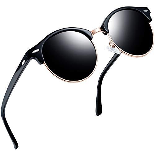Joopin Gafas de Sol Hombre Polarizadas Medio Marco Retro Semi Rimless Gafas de sol para Mujer Clásicas (Negro brillante)