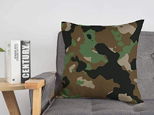 LREFON 18' 2pcs Square Throw Pillowslip Woodland Combat Camoflauge Camo Uniform 200 Technology Digital Material Camoflage Soft Skin-Friendly Pillowcase for Couch Sofa