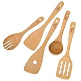 Wooden Spoons Kitchen Cooking Utensils - Spatulas for Nonstick Cookware As House Warming Presents, 5 Pieces Beech Wood Set