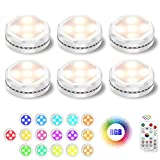 Led Puck Light, UYICOO Battery Operated Lights Wireless Color Changing Dimmable Under Cabinet Lighting, 3500K Led Stick on Lights with Timing, Under Counter Lights for Display Cabinet (6 Packs).