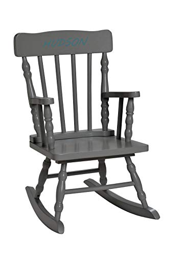 Lamlo Personalized Children's Rocking Chair, Features Classic Rocker Design and Hardwood Construction, Grey Finish Includes Free Personalization Kit