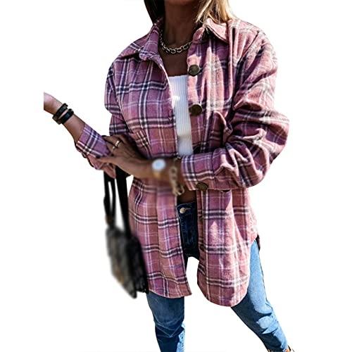 WJANYHN Moda Casual Camisa A Cuadros para Mujer Blusa Suelta Solapa Abrigo De Lana De Longitud Media Mujeres