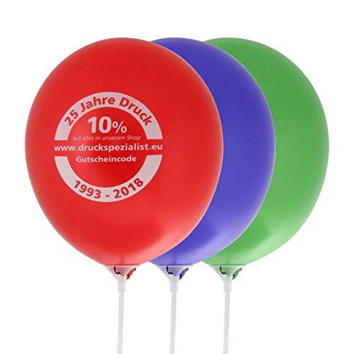 200 Ballons Luftballons 30 Durchmesser günstig bedrucken 1-farbig Werbeballons mit Verschluß und Stab