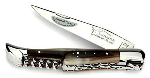 Laguiole Honoré Durand Taschenmesser Doppelplatine Griff Hornspitze 12 cm Messer glänzend Korkenzieher