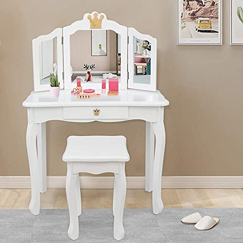 JOYMOR Kids Princess Vanity Table and Chair Set, Kids Vanity Set with Drawer & Tri-Folding Mirror, 2 in 1 Makeup Dressing Table with Detachable Top, Pretend Beauty Play Vanity Set for Girls (White)