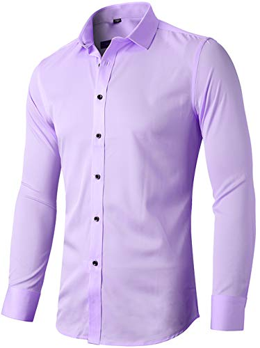Mens Fiber Casual Button Up Slim Fit Collared Formal Shirts, Violet, 16″Neck 34″Sleeve,(Tag 41)