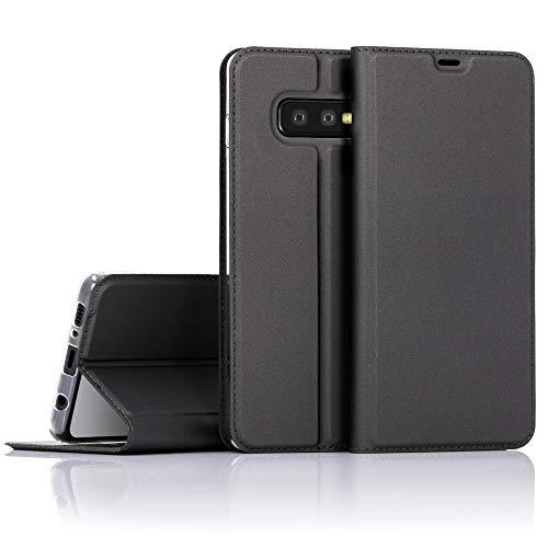 NALIA Hülle kompatibel mit Samsung Galaxy S10e, Slim Kickstand Handyhülle Flip-Hülle Kunstleder Book-Cover mit Magnet, Etui Ganzkörper Schutzhülle Dünne R&um Handy-Tasche Bumper - Schwarz Grau