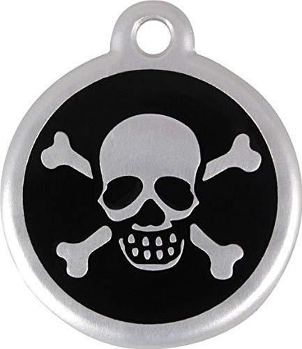 Red Dingo QR Collar Tag, Skull/Crossbones, Large, Black