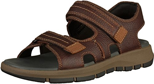 Clarks Brixby Shore, Sandalia con Pulsera para Hombre, Marrón (Dark Brown Leather-), 44 EU