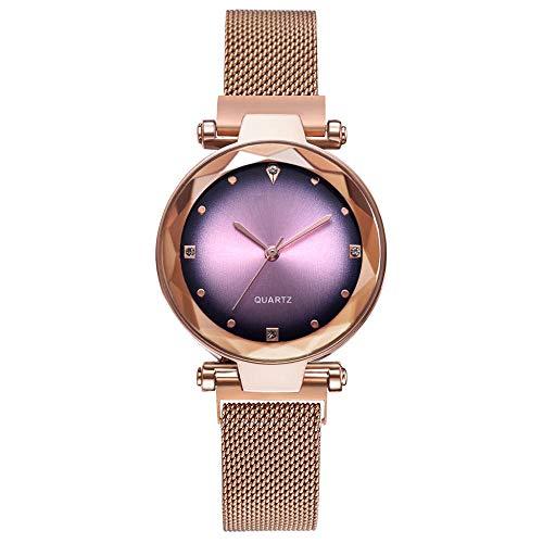 Powzz - Reloj de pulsera inteligente con hebilla magnética, movimiento de cuarzo, color rojo y dorado