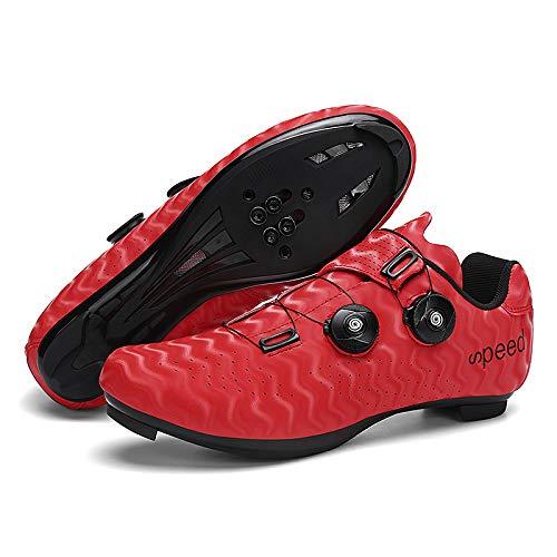 KUXUAN Zapatos de Ciclismo para Hombres Mujeres,Zapatos para Montar en Carretera, Zapatos Giratorios con Hebilla, Tacos Compatibles con SPD Look Delta,Red-6.5UK=(250mm)=40EU