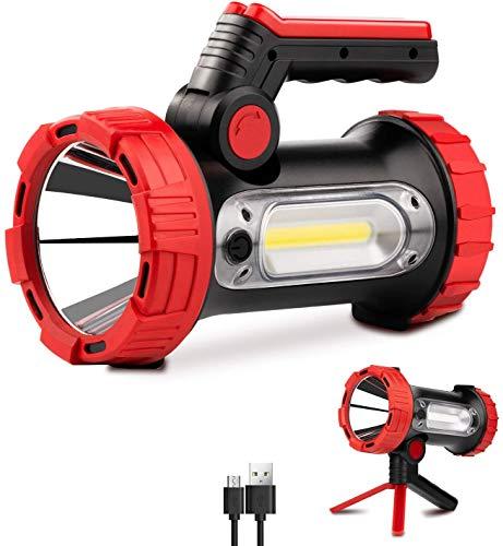 Linterna LED, linterna de 1200 lúmenes, 6 modos, brillante, plegable, con trípode recargable, cargador portátil, linterna grande impermeable para camping, luz de búsqueda de mano al aire libre
