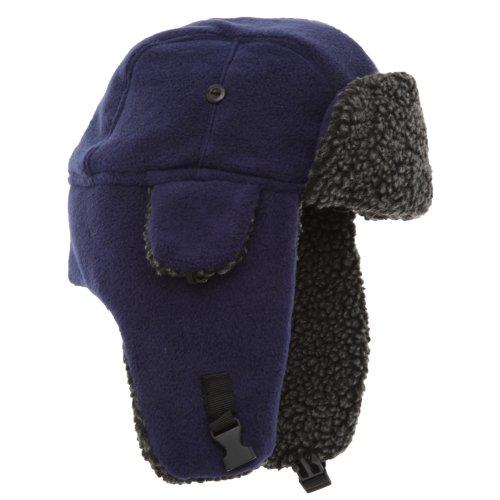 Textiles Universels Bonnet Trappeur en Polaire - Adulte Unisexe (59cm) (Bleu Marine)
