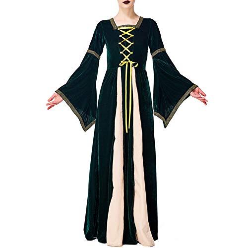 OUJIE Robe d'halloween, Costume De Dame De La Renaissance Médiévale, Performance De Bal De Robe d'impression De Palais Rétro Vert Foncé,L