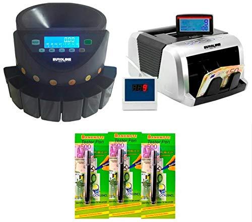 EUROLINE - Pack INTÉGRAL : Compteuse de Billets + Trieuse de pièces LCD + 3 Détecteurs de Faux Billets Feutres