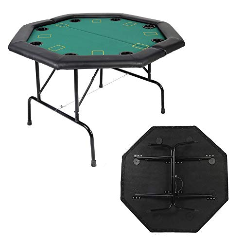 """LUCKYERMORE Poker Table 8 Player 48"""" Octagon Folding Texas Poker Blackjack Game Table with Cup Holder"""