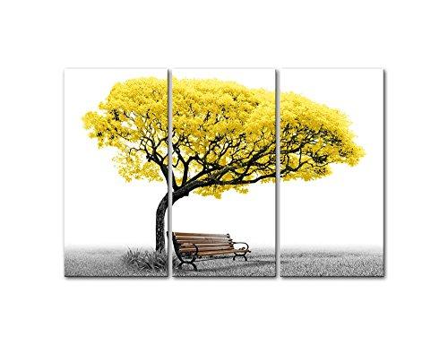 So Crazy Art Tableau Mural sur Toile pour décoration d'intérieur, Banc de Parc d'arbre Jaune en Noir et Blanc, 3 Panneaux Modernes giclée encadrés pour décoration de Salon