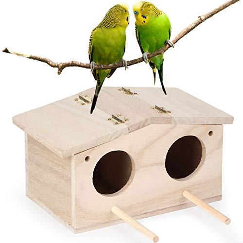 Tianhaik Holzvogelhaus mit 2-Loch-Tür Papageien Nistkasten Vogelschutz Holzhaus zum Schlafen Oder Spielen
