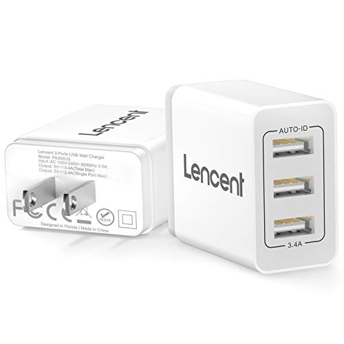 LENCENT USB Wall Charger Plug, [2 Pack] 17W 3-Port USB Cube Portable Charger AC Outlet Adapter for iPhone 11/ Xs/XS Max/XR/X/8/7/6/Plus, iPad Pro/iPad, Samsung Galaxy/Note/Edge, LG, Nexus and More
