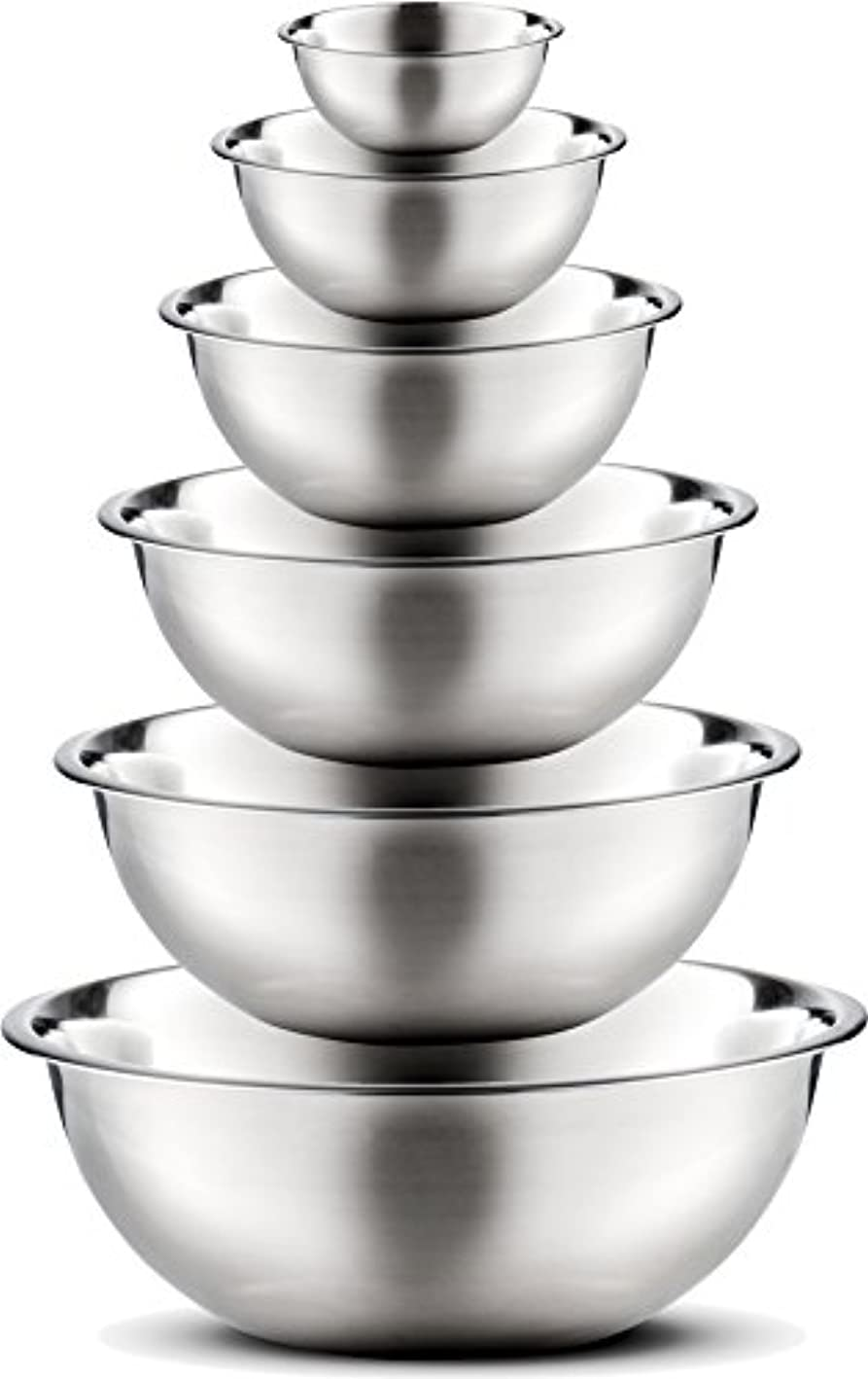 Stainless Steel Mixing Bowls by Finedine (Set of 6) Polished Mirror Finish Nesting Bowl, ? - 1.5-3 - 4-5 - 8 Quart - Cooking Supplies