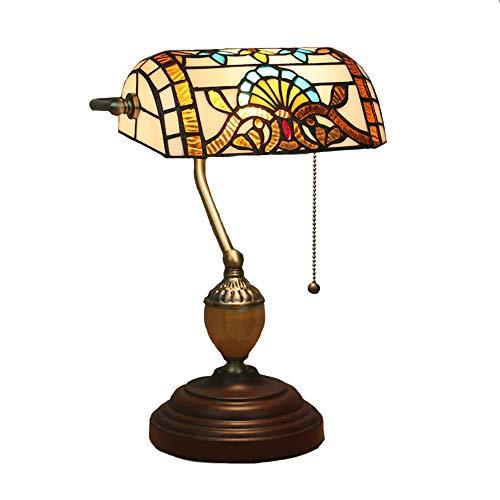 FYMDHB886 Traditionele bankerlamp, tafellamp, tiffany-stijl, bureaulamp, bureaulamp, verlichting, renovatie, voor huis, meerkleurig (lamp niet inbegrepen), Size, Een