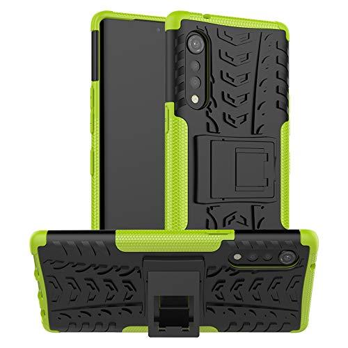 LiuShan Compatibile con LG Velvet Custodia,Protettiva Shockproof Rigida Dual Layer Resistente agli Urti con cavalletto Caso per LG G9 ThinQ/Velvet Smartphone,Verde
