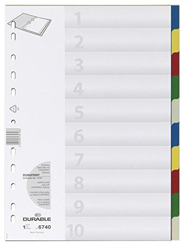 DURABLE Hunke & Jochheim Register, PP, blanko, farbiger Verlauf, DIN A4, 210/220 x 297 mm, 10 Blatt