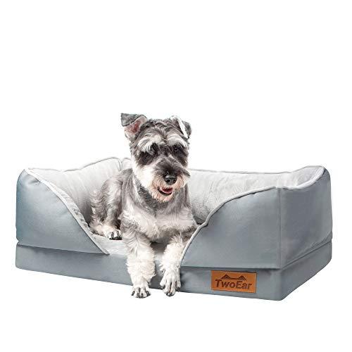 TwoEar Cama para perros de espuma viscoelástica para perros medianos, sofá ortopédico impermeable, cama para perros de 74 x 45 cm