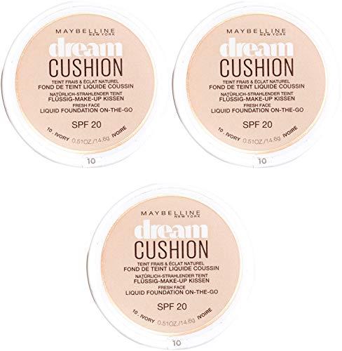 Maybelline New York Dream Cushion Fond de Teint Liquide Coussin 10 Ivoire - Lot de 3