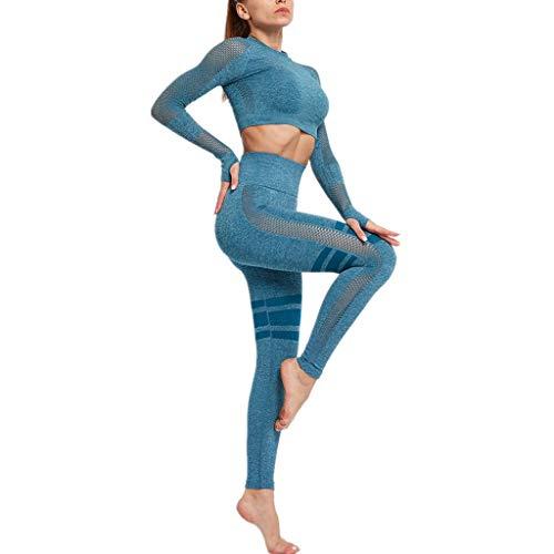 LOPILY 2 Teilig Traingsanzug Damen Fitness Leggings mit Sport BH Mesh Yogahose Schnelltrocknend Sportbekleidung Bauchfreies Top mit Stretchhose Trainingshose Yogabekleidung