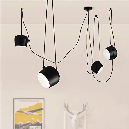 DIY Lámpara colgante de araña Negro Vintage Metal ajustable Lámpara de plafón para Comedor Sala de estar Cocina Bar Dormitorio Estudio Oficina Candelabro Retro Diseño clásico Iluminación Pantalla 18cm
