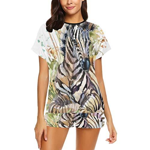 Pijama informal para mujer, diseo de cebra cub animales salvajes, ilustracin de acuarela, pijama de manga corta, pijamas con estampado de dos piezas Multicolor. XL