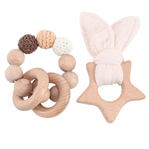 Biter teether 2pcs Mini Wooden Star Teether Toy with Cotton Rabbit Ears Beige Crochet Beads Nursing Bracelet Food Grade Wooden Teether Rings Sensory Baby Rattle Toy Sore Gums Pain Relief