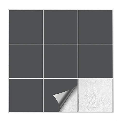 Kiwistar Fliesenaufkleber Dunkelgrau 73 Seidenmatt - 33 x 33 cm - 25 Stück - Für Bad, Küche etc