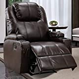 IOMOR Recliner Chair with 2 Cup Holders, Manual Ergonomic Faux Leather Recliner Home Theater, Living Room Chair with Side Pockets, Brown