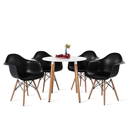 DORAFAIR 4 Sillón Tower Negro y Mesa Redonda de Comedor, Juego de sillas de Comedor Moderna Nórdica